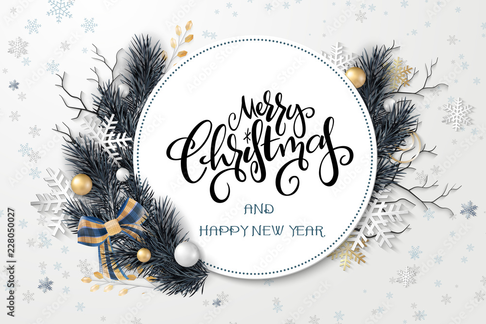 Fototapety, obrazy: Vector illustration of greeting banner template with hand lettering label - merry Christmas - with realistic fir-tree branches, bauble, snowflakes, and decorative bead branches