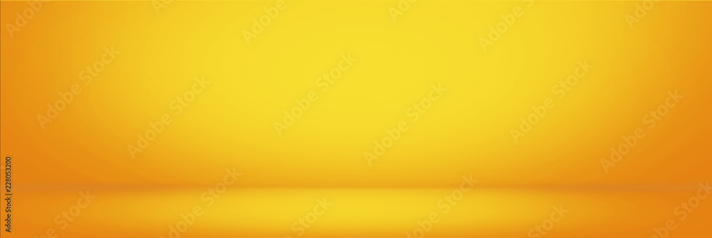 Fototapety, obrazy: Yellow gradient wall and empty studio room background