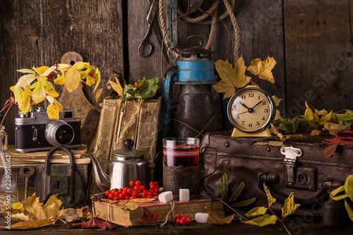 Fototapeta  autumn still life with books, vintage suitcase obraz