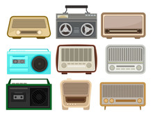 Flat Vector Set Of Different Retro Radio And Tape Recorders. Vintage Music Players. Elements For Mobile App