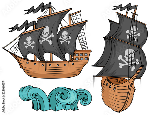 Cuadros en Lienzo pirate ship or boat illustration, isolated on white background, cartoon sea pira