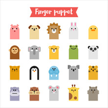 Cute Finger Puppet Animal Face Icon 20 Set. Flat Design Style Vector Graphic Illustration.