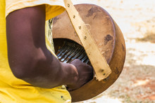 Man Playing African Musical Instrument Know As Mbira