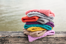 Rows Of  Colorful Knitted Hats...