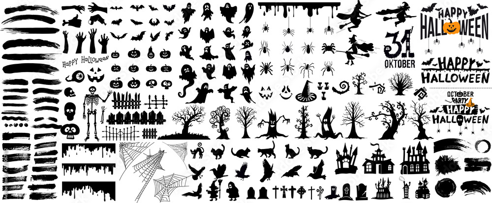 Fototapety, obrazy: Set of halloween silhouettes black icon and character. Vector illustration. Isolated on white background.