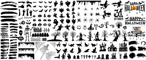 Photo Set of halloween silhouettes black icon and character
