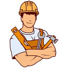 Builder Worker, Building Service Logo, Builder Company Emblem, Vector Illustration For Web And Mobile, Vector Artwork