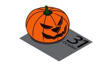 Halloween Pumpkin On 31 October Calendar Box. Isometric Illustration