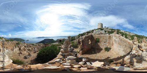 360 degree spherical panorama from ancient watchtower Albercutx watchtower in Po Fototapeta