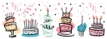Set Of Stylized Birthday Cakes With Color Spots And Decorations Decorations. Hand Drawn Cartoon Outline Sketch Illustration