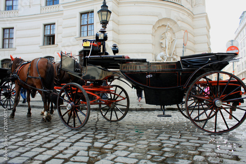 Vintage Horse-driven carriage near Hofburg palace in Vienna city in Austria.