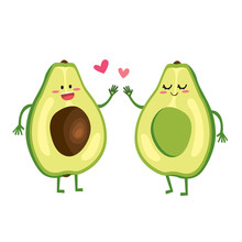 Cute Cartoon Avocado Love Couple Characters