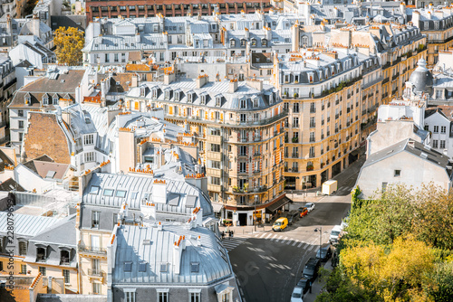 Photo Top view on the beautiful residential buildings in Paris