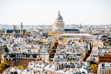Fototapeta Fototapety Paryż - Aerial panoramic view of Paris from the Notre-Dame cathedral with Pantheon building during the morning light in France
