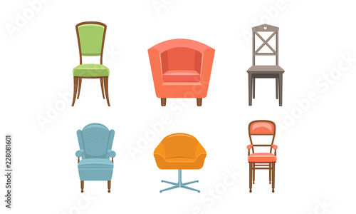 quality design b8b31 89d8f Chairs and armchairs set, retro and modern comfortable furniture vector  Illustration on a white background