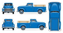 Classic Pickup Truck Vector Mockup On White Background. Isolated Blue Vintage Lorry View From Side, Front, Back, Top. All Elements In The Groups On Separate Layers For Easy Editing And Recolor