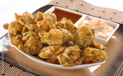 Foto op Aluminium Kip Pakora, a full nutrition spicy food with stuffed onion, chilli & gram flour