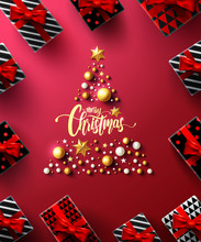 Christmas And New Years Red Poster With Gift Box And Christmas Decoration Elements For Retail, Shopping Or Christmas Promotion In Golden And Red Style.Vector Illustration EPS10