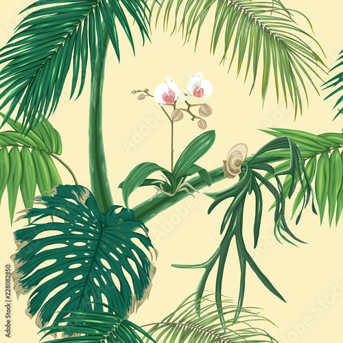 jednolite-wzor-tlo-z-tropikalnymi-roslinami-i-kwiatami