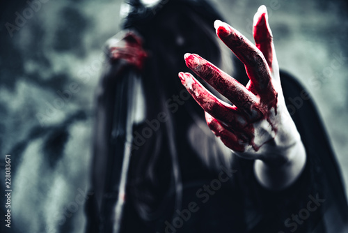 Stampa su Tela Witch showing bloody hand