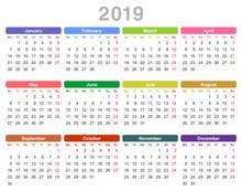 2019 Year Annual Calendar (Mon...