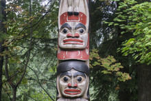 First Nations Totem Poles In Vancouver, Canada