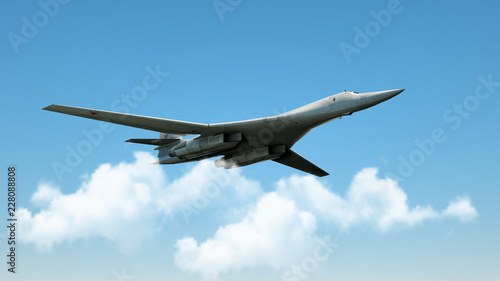 Aarmed military fighter jet in flight on the cloudly sky background Canvas Print