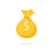 Golden Money Bag Icon. Clipart...