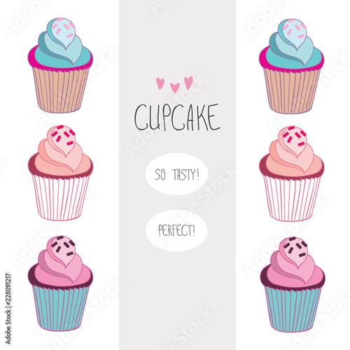 Photo  Lovely beautiful yummy cartoon cupcake