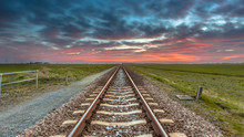 Railroad Panorama In Open Rural Countryside