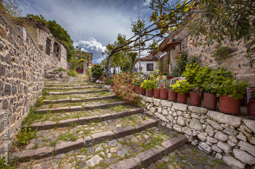 Stone stairs with gardens on Lesbos island Greece Canvas Print