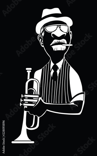 Fotobehang Art Studio Caricature of a jazz trumpet player
