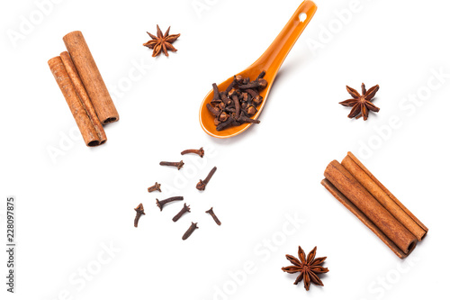 Cinnamon sticks and star anise isolated on white background Canvas Print