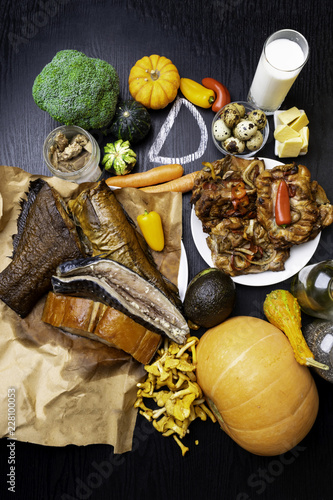 Foods rich in vitamin D  Top view - Buy this stock photo and