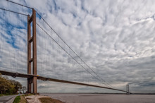 River Humber Suspension Bridge Near Hull, UK At High Tide