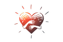 Empathy, Heart, Love, Charity, Support Concept. Hand Drawn Isolated Vector.