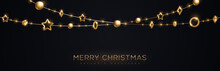 Christmas Banner With Gold Baubles
