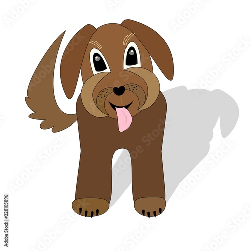 Foto  Cute brown dog crossbreed waiting with torn tongue, cartoon illustration with sh