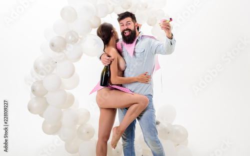 Stag party great ideas. Strip dance amazing private party. Man bearded bachelor celebrate with nude strip dancer girl. Organizing bachelor party. Every man dream celebrate awesome bachelor party