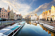 canvas print picture - Embankment  along the Leie river with medieval houses in the city of Ghent, Belgium