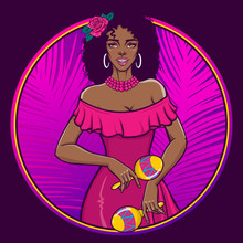 Beautiful Girl Playing Maracas. Happy Smiling Black Woman In Pink Summer Dress. Circle Label, Poster, Tee Shirt Print. Vector Illustration In Retro Pin-up, Pop Art, Comic Style.