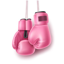 Vector Pink Pair Of Boxing Glove On Lace Realistic