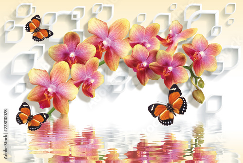 Tuinposter 3D wallpapers with peach orchids and waving butterflies on 3d background