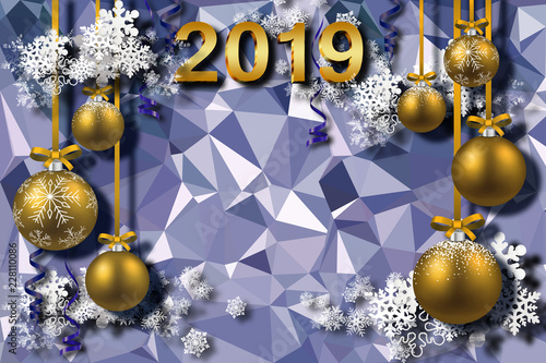 happy new year 2019 christmas gold balls and snowflakes on blue 3d background celebration
