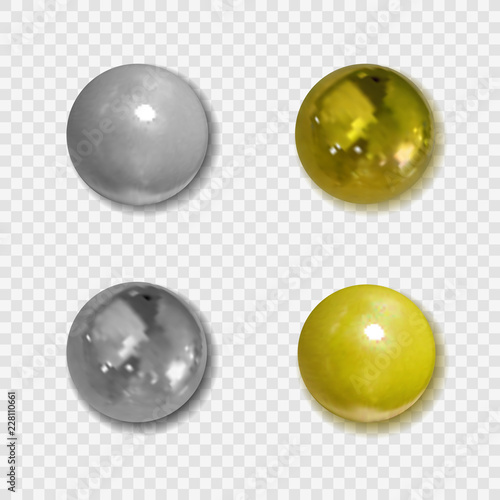 Vector Realistic Golden and Silver Buttons with Shadows on