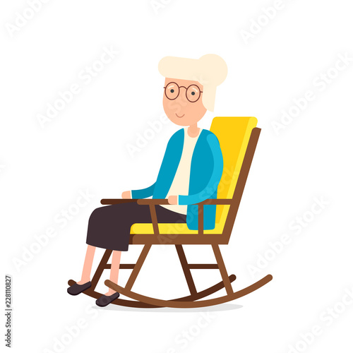 Pleasing Old Woman Sitting On Rocking Chair Clipart Image Isolated Machost Co Dining Chair Design Ideas Machostcouk