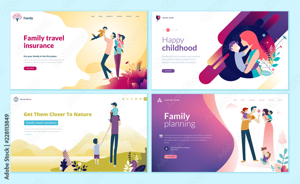 Fototapeta Set of web page design templates for family planning, travel insurance, nature and healthy life. Modern vector illustration concepts for website and mobile website development.