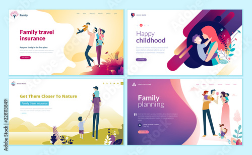 Photo  Set of web page design templates for family planning, travel insurance, nature and healthy life