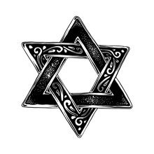 Vector Engraved Style Illustration For Posters, Decoration And Print. Hand Drawn Sketch Of Jewish David's Star In Black Isolated On White Background. Detailed Vintage Etching Style Drawing.