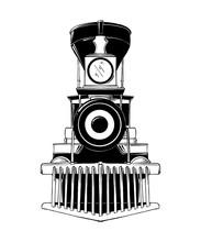 Vector Engraved Style Illustration For Posters, Decoration And Print. Hand Drawn Sketch Of Old Locomotive In Black Isolated On White Background. Detailed Vintage Etching Style Drawing.